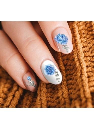 Artikel Çiçek Desenli Tırnak Dövmesi Renkli